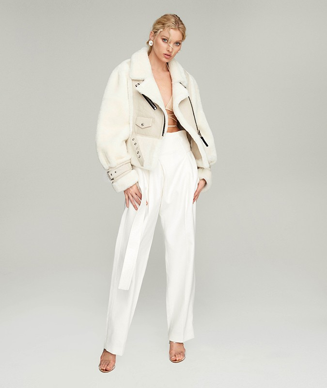 VICTORIA CROPPED SHEARLING BIKER JACKET